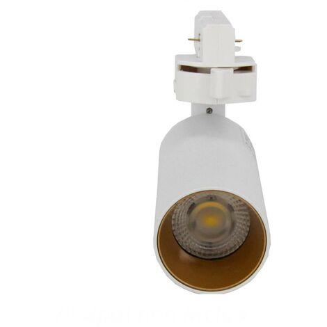 Spot LED sur Rail 6W 38° Monophasé BLANC DORE