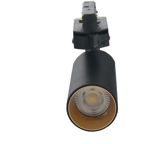 Spot LED sur Rail 6W 38° Monophasé NOIR DORE - Blanc Neutre 4000K - 5500K