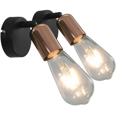 Spot Lights 2 pcs with Filament Bulbs 2 W Black and Copper E27