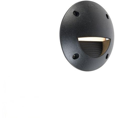 Spot mural extérieur semi-circulaire Moderne noir avec LED IP65 - Leti Qazqa Moderne Luminaire exterieur IP65 Rond
