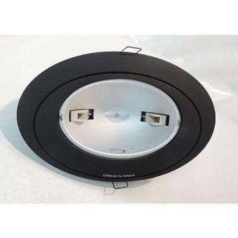 Spot orientable noir ovale 270X178mm à encastrer pour lampe halogène R7S QT-DE 150W max sans verre (4806) OVALIS ANTARES 142010