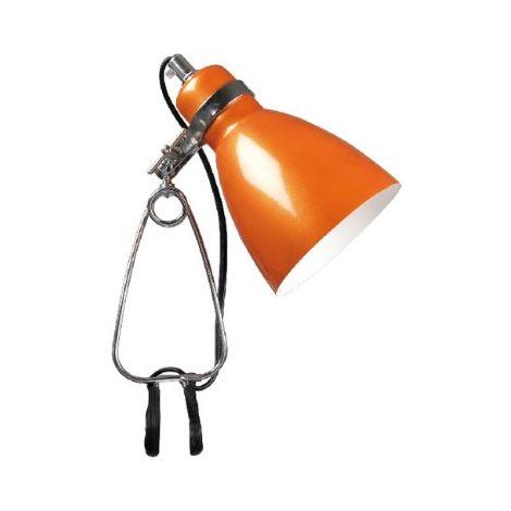 Spot pince pour bureau chevet métal Orange et chrome E14 40w maxi réf 73072027 Nordlux