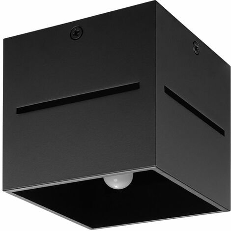 Spot plafond, carré, noir, spot en saillie, couloir, effet lumineux, aluminium, 1x LED 4W 400 lm, LxH 10x10 cm