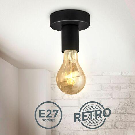 Spot plafond design rétro vintage industriel plafonnier métal noir mat éclairage plafond & mural salon & chambre douille E27 Ø10cm