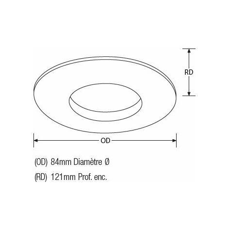 Spot s.d.b. Alu brosse rond fixe pour dichro 50w maxi. Ip65.verre sab