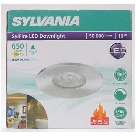 Spot SDB encastré LED 10W Ø 90mm alu fixe 4000K 650lm avec driver 230V dimmable 40° étanche IP65 SYLFIRE SYLVANIA 0059815