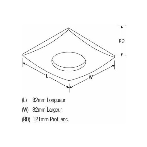 Spot s.d.b.zamac alu brosse carre fixe pr dichro50wmaxi. Ip65.verre s