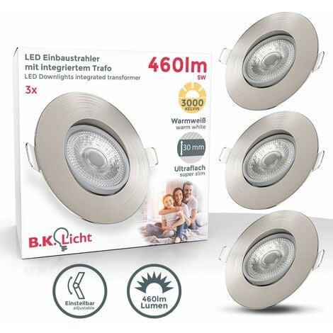 Spots 5W LED encastrables orientables ultra-plats nickel mat lot de 3