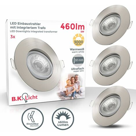 Spots 5W LED encastrables orientables ultra-plats nickel mat lot de 3