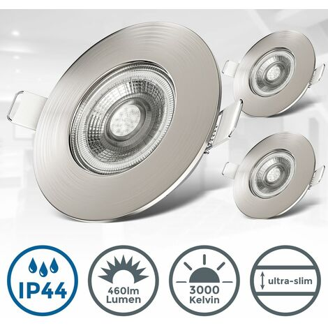 Spots 5W LED encastrables spécials sdb ultra-plats nickel mat IP44 Set de 3