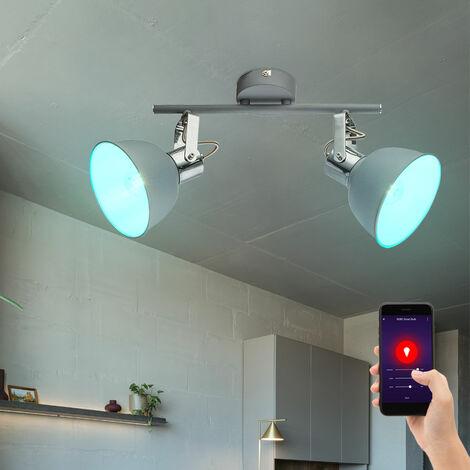 Spots de plafond mobiles Lampe de variateur de salon REMOTE CONTROL dans un ensemble comprenant des ampoules LED RGB