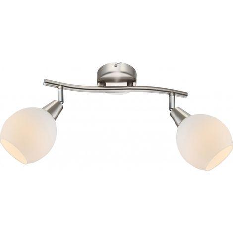 Spots Del Applique Luminaire Mural Plafond Plafonnier Nickel Verre Opale Couloir