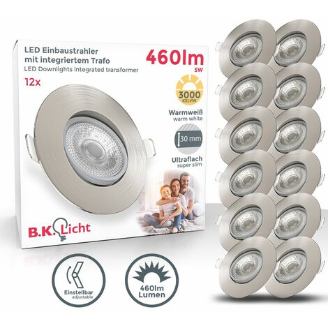 Spots LED encastrables orientables 5W ultra-plats nickel mat Set de 12