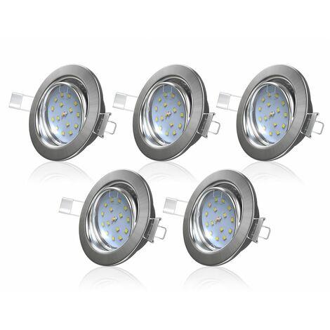 Spots LED plafond encastrables lot de 5 spots à encastrer ultra-plats 5W orientables