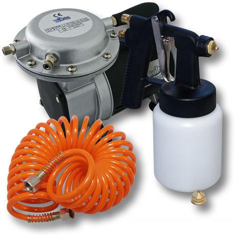 Spray Gun Profi Set HS472P 0.8mm Nozzle & Compressor AS09 atomizing gun