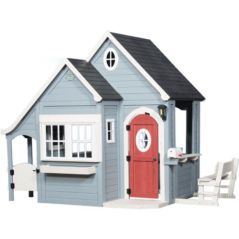Spring Cottage Playhouse: Maisonnette pour enfants, fenêtres intégrées et bois très résistant