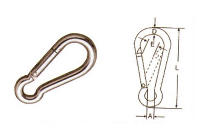 Image of 10mm STAINLESS STEEL 316 (A4) Spring Hook / carabiner