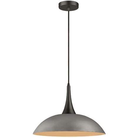 Spring Lighting - 1 Light Dome Ceiling Pendant Black, Cement, E27