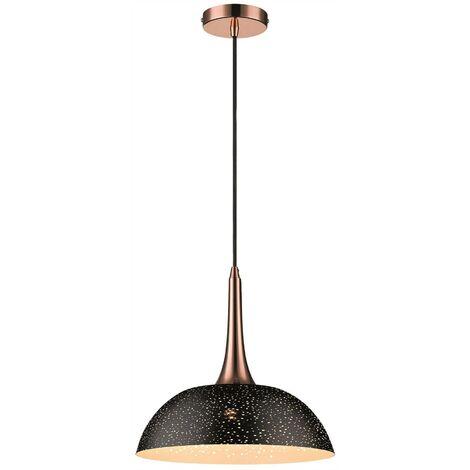Spring Lighting - 1 Light Dome Ceiling Pendant Black, Copper, E27