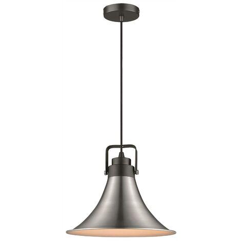 Spring Lighting - 1 Light Dome Ceiling Pendant Black, Satin Nickel, E27