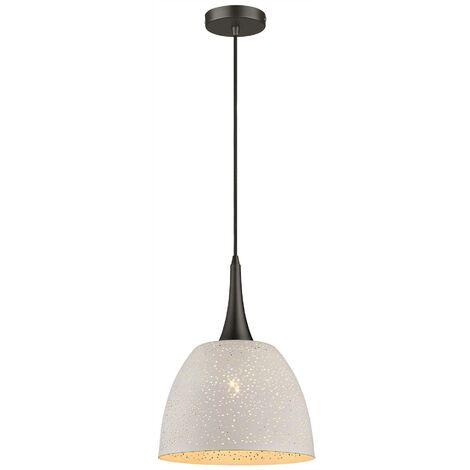 Spring Lighting - 1 Light Dome Ceiling Pendant White, Black, E27