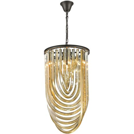 Spring Lighting - 3 Light Ceiling Pendant Black Chrome, Champagne gold with Crystals, E14