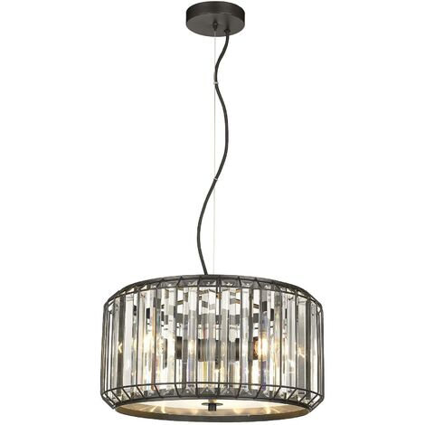 Spring Lighting - 3 Light Ceiling Pendant Black, Clear with Crystals, E27