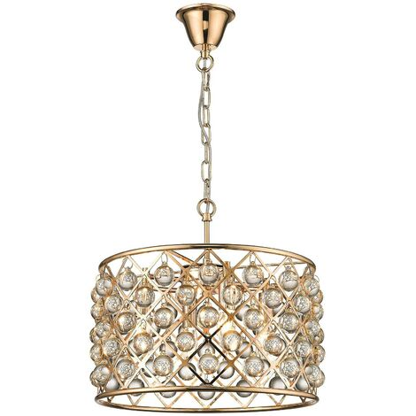 Spring Lighting - 4 Light Small Ceiling Pendant Gold, Clear with Crystals, E14