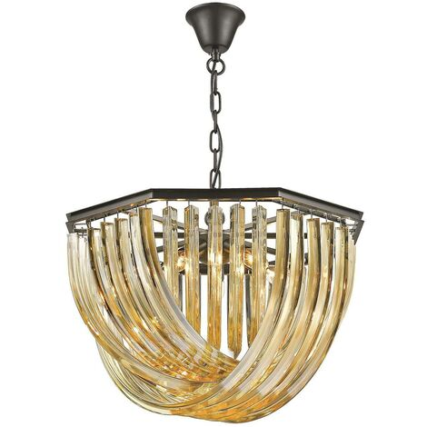 Spring Lighting - 5 Light Ceiling Pendant Black Chrome, Champagne gold with Crystals, E14