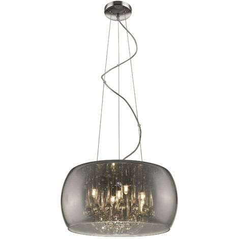 Spring Lighting - 5 Light Ceiling Pendant Chrome, Smoked grey with Glass Shade with Crystals, G9