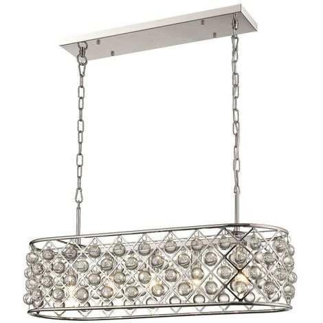 Spring Lighting - 5 Light Oval Ceiling Pendant Chrome, Clear with Crystals, E14