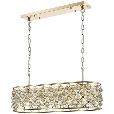 Spring Lighting - 5 Light Oval Ceiling Pendant Gold, Clear with Crystals, E14