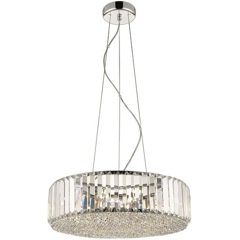 Spring Lighting - 5 Light Small Ceiling Pendant Chrome, Clear with Crystals, G9