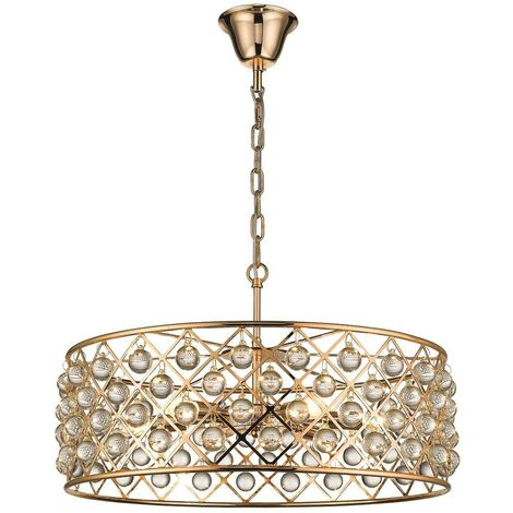 Spring Lighting - 6 Light Large Ceiling Pendant Gold, Clear with Crystals, E14