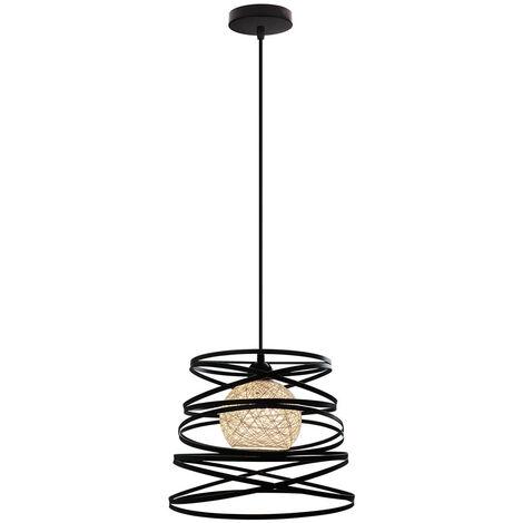 Spring Shape 30cm Industrial Pendant Light Cable Adjustable Ceiling Light Irregular Retro Creative Chandelier for Living Room Dining Room Bar Balcony Black