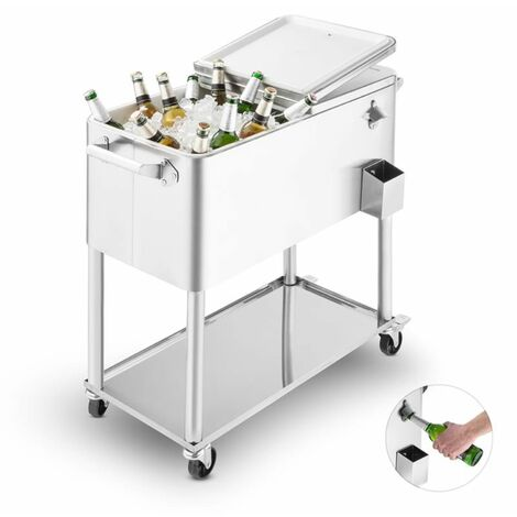"main image of ""Springbreak 2000 Beverage Cart Terrace Cooler 80l Stainless Steel"""