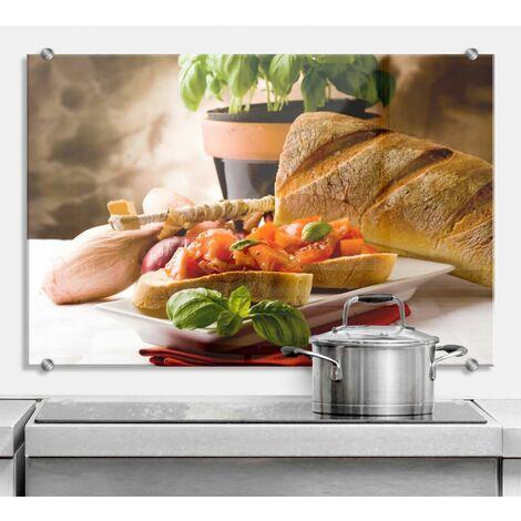 Spritzschutz Bruschetta Glasbild 3D Küchenrückwand
