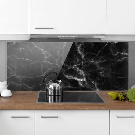 Spritzschutz Glas - Nero Carrara - Schwarzer Marmor Marmoroptik - Panorama Quer