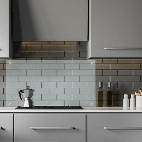 Spritzschutz Küche, Sicherheitsglas, Kochnische Fliesenschutz, Herdblende 90x60 cm, Wandmontage, transparent