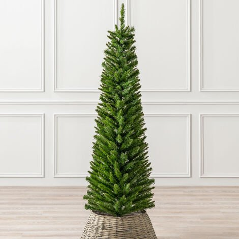 """main image of """"Artificial Christmas Tree Slim Pine Spruce With Green Stand 5ft 6ft 7ft Christow"""""""