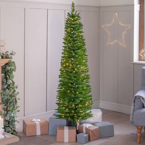 """main image of """"Artificial Christmas Tree Slim Pencil Spruce With Stand 5ft 6ft 7ft Christow"""""""