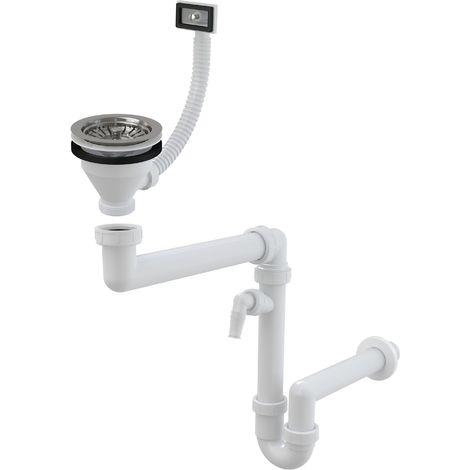 """Spülbecken Ablaufgarnitur Raumsparsiphon 1,5"""" mit Geräteanschluß und Ablaufventil mit Überlauf: ø115mm"""