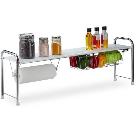 Spülbeckenregal mit Küchenrollenhalter, Küchenregal mit Korb, Metall, H x B x T: 32 x 94 x 23 cm, weiß/silber