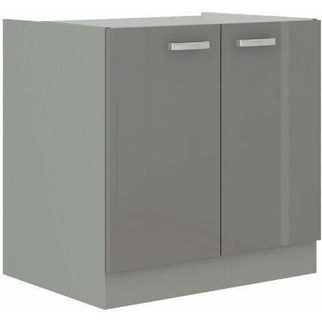 Spülen Unterschrank 80 Grey Hochglanz Grau Küchenzeile Küchenblock Küche Vario