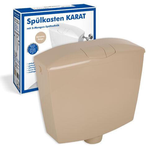 Spülkasten Karat | Kunststoff | 2 Mengen Spültechnik | 3,5 Liter oder 6 - 9 Liter | Tiefspülkasten | WC, Toilette | Beige