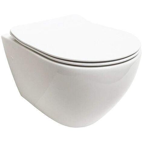 , spülrandlose wandhänge WC Keramik Toilette mit passendem WC Sitz mit Absenkautomatik