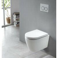 Spülrandloses Wand-Hänge WC B-8030R Weiß - mit Nano-Beschichtung - inkl. Softclose-Deckel