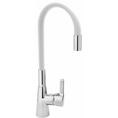 Spültisch Einhebel Küchenarmatur flexibel in weiß Wasserhahn