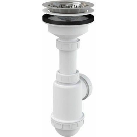 Spültisch Flaschen Siphon Rostfreies Gitter DN 115 Universal Anschluss DN40/50 Ablaufgarnitur Ablauf Spülbecken Spüle