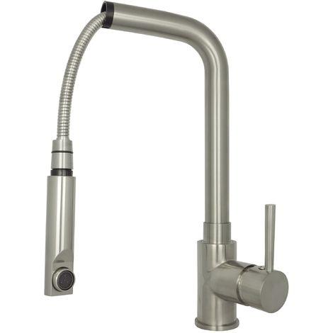 Spültischarmatur Küchenarmatur ausziehbar Wasserhahn Hochdruck Edelstahl 241SS